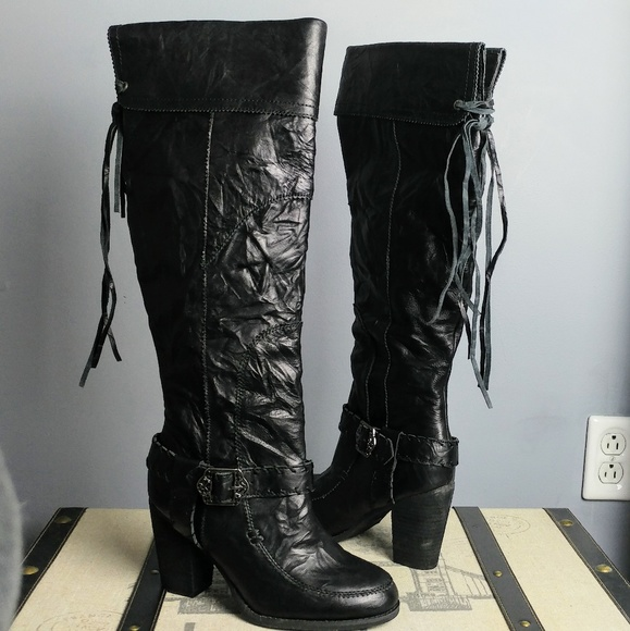 Sbicca Shoes - 2 ways to wear leather black fringe Knee boots